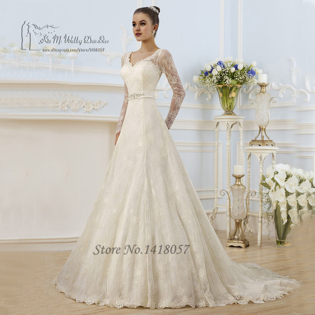 Vintage Ivory Spring Wedding Dress Long Sleeve Lace Wedding Gowns A ...