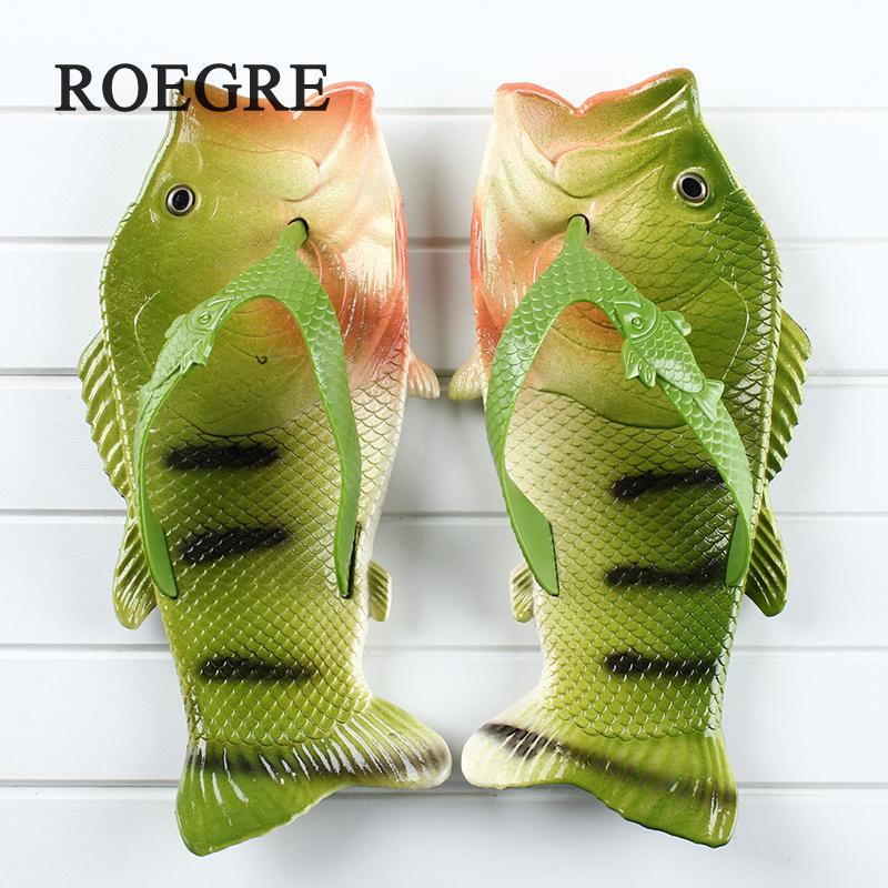 Рыбы тапочки Для мужчин летние шлепанцы 2018 Новый Bea chcolourful сандалии модные шлепанцы с открытым носком детские тапочки 24- 45