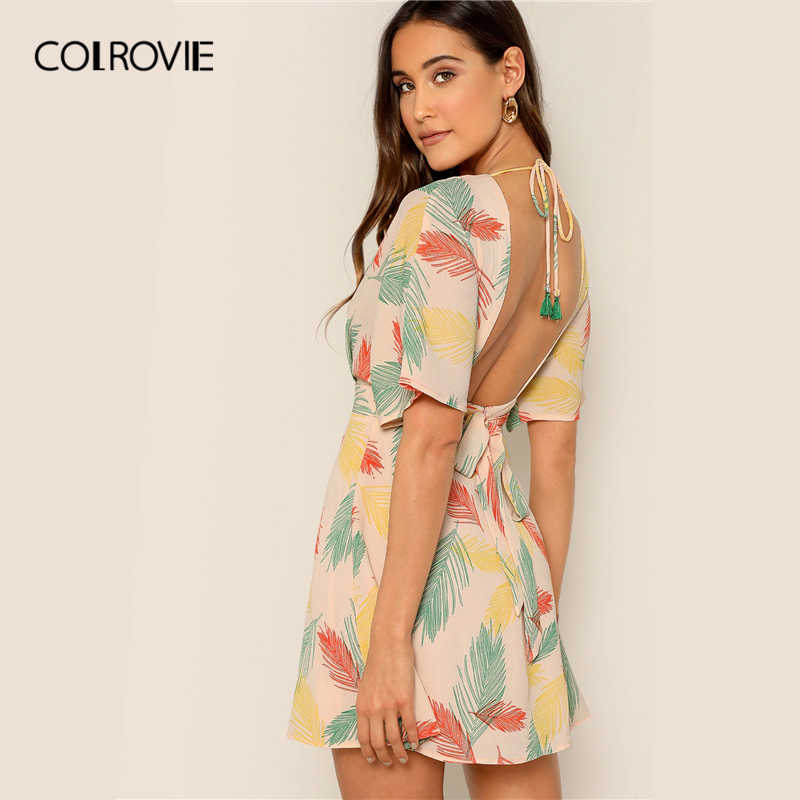 COLROVIE, платье с v-образным вырезом, с открытой спиной, Тропическое, плиссированное, бохо, женское, 2019, летнее, ТРАПЕЦИЕВИДНОЕ, с высокой талией, для отдыха, Пляжное, мини-платье