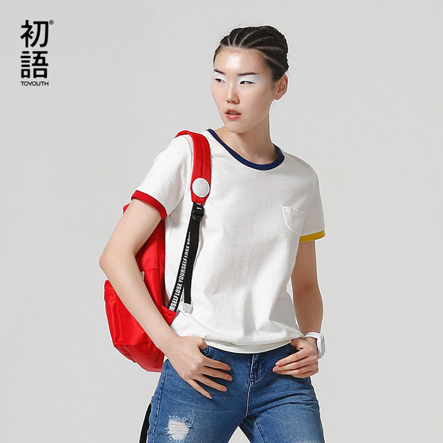 Toyouth Basic T Shirt Women Summer Short Sleeve  O-Neck Cotton All-Match Tees Tops Female Color Patchwork Casual T-Shirts