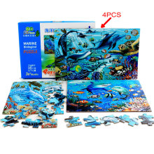 Dinosaur/Farm/Fire engine puzzle/Excavator/Marine Animal jigsaw Puzzle, Each set of  4PCS 30 pieces puzzle Baby toy