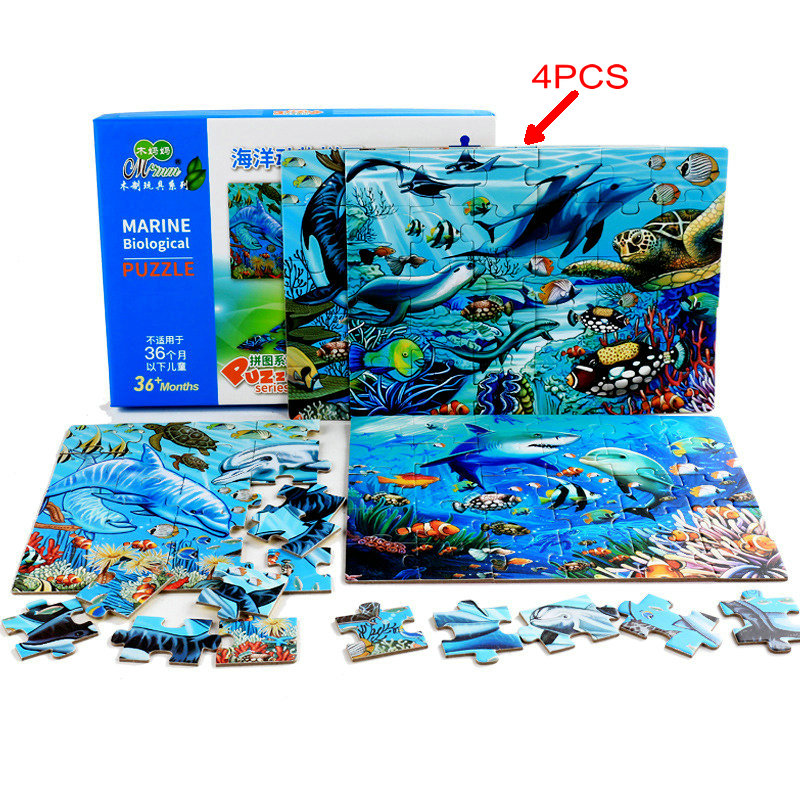 Dinosaur/Farm/Fire engine puzzle/Excavator/Marine Animal jigsaw Puzzle, Each set of 4PCS of 30 pieces of jigsaw puzzle Baby toy
