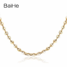 BAIHE Solid 18K Yellow Gold Certified Women Trendy Fine Jewelry Elegant unique Necklaces