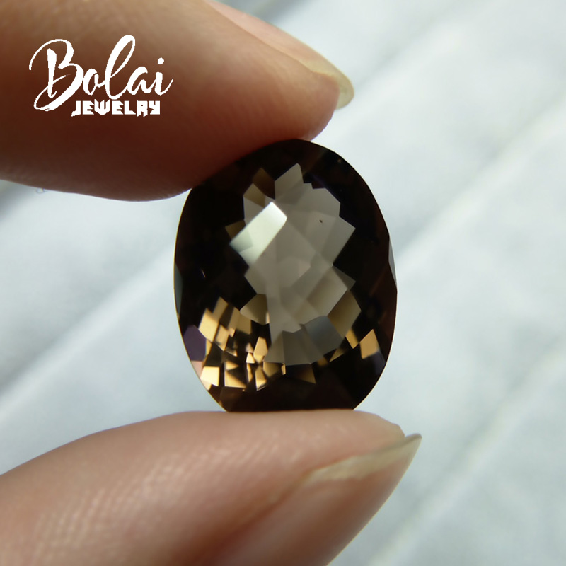 Bolaijewelry Loose Gemstone Natural Oval Cut Quartz For Checkrboard Smoky 12--16