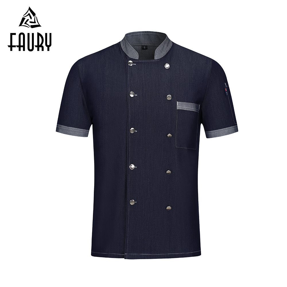 2019 Professional Chef Jacket Short Sleeve Chef Clothes Food Service Restaurant Kitchen Cooking Work Uniform Hotel Work Overalls