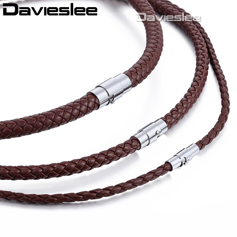 Mens Leather Necklace Choker Black Brown Rope Choker Necklaces for Men Women Davieslee Wholesale Jewelry 4/6/8mm DLUNM09