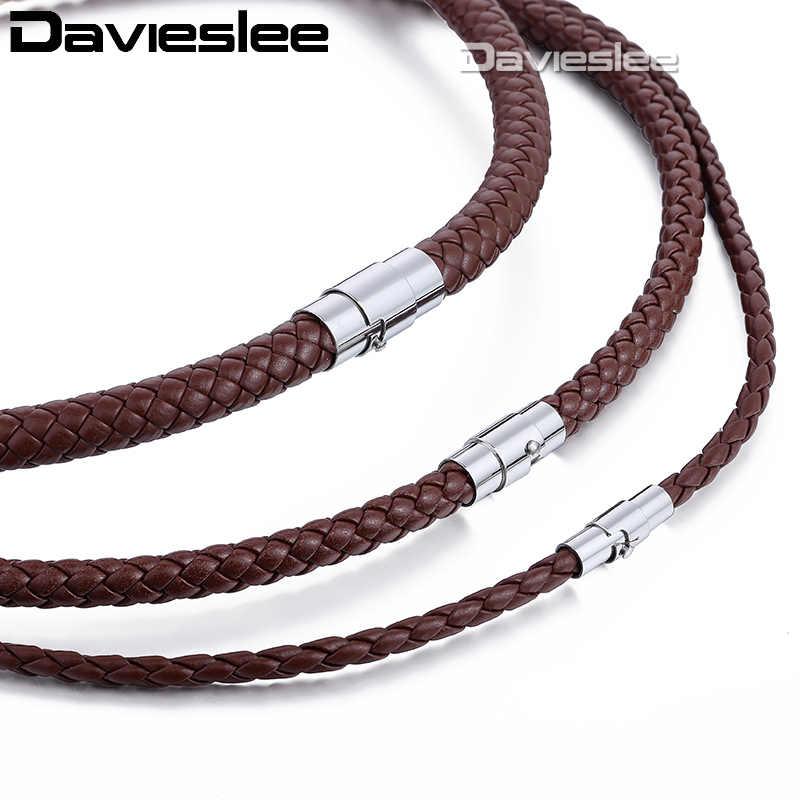 4642ac569e1f Para Hombre de cuero collar gargantilla negro marrón cuerda gargantilla  collares para las mujeres de los