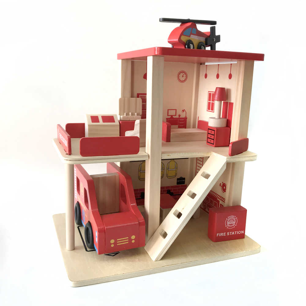 Fire station wooden track train toy combination toy Variety BRIO track scene game component children's educational toys