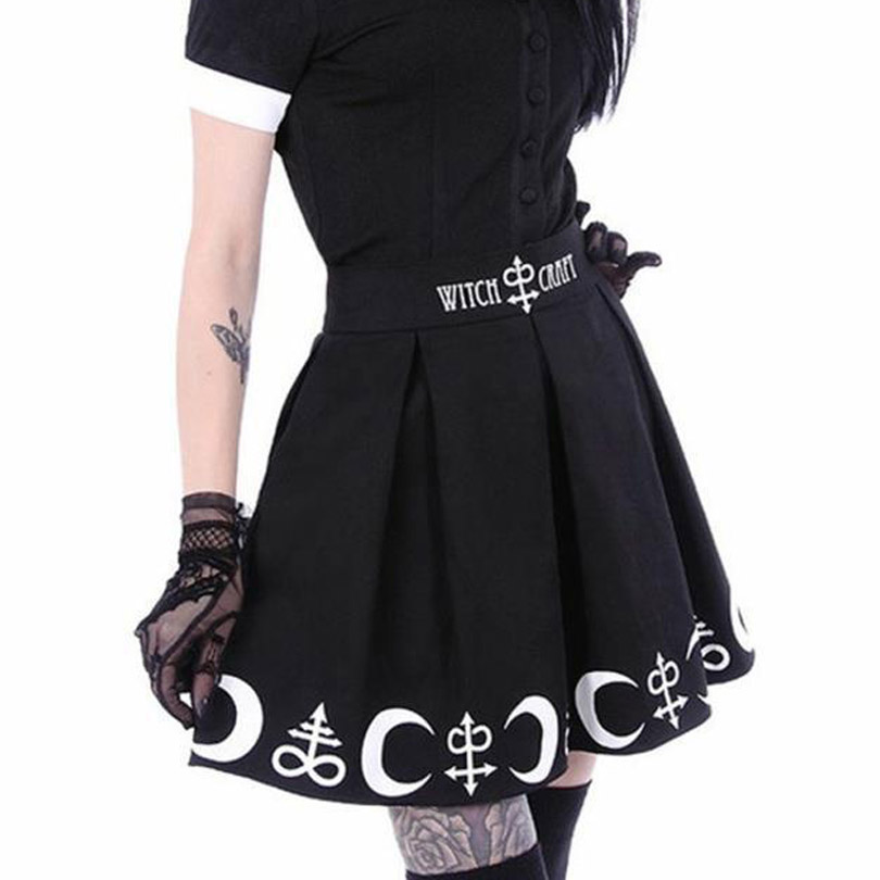 Witch Moon Printed Harajuku Punk Rock Gothic Summer Women Skirts High Waist Mini Skirt Pleated Mini Skirt for Gothic Girls 5