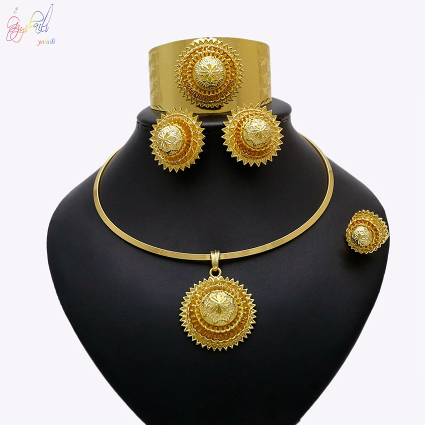 YULAILI Free Delivery Yulaili New Coming Pure Gold Color Zinc Alloy Fashion Flower Design Ladies Ethiopia Jewelry Sets yulaili free delivery hot sell factory ethiopia design copper alloy four pieces ladies big jewelry sets