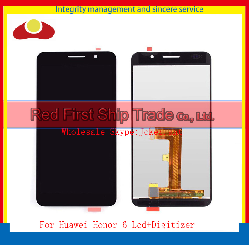 20Pcs DHL EMS High Quality 5.0 For Huawei Honor 6 Lcd Display Assembly Complete + Touch Screen Digitizer Black And White dhl ems high quality black white gold