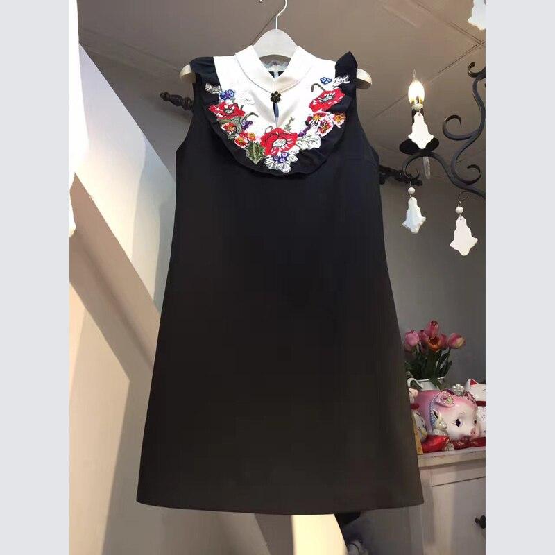 L'ukraine Ciel D'été Pour Marque 8925 Noir pu Jurkjes Femme Robes Gilet Strand Brodé Niwiy Sans rose Robe Ete 2019 Manches Floral 08wmNn