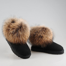 จัดส่งฟรี!ที่มีคุณภาพสูง!ธรรมชาติขนสัตว์หิมะรองเท้าหนังรองเท้าผู้หญิงแท้จริงฟ็อกซ์ขนฤดูหนาวที่อบอุ่นข้อเท้าบู๊ทส์8สี