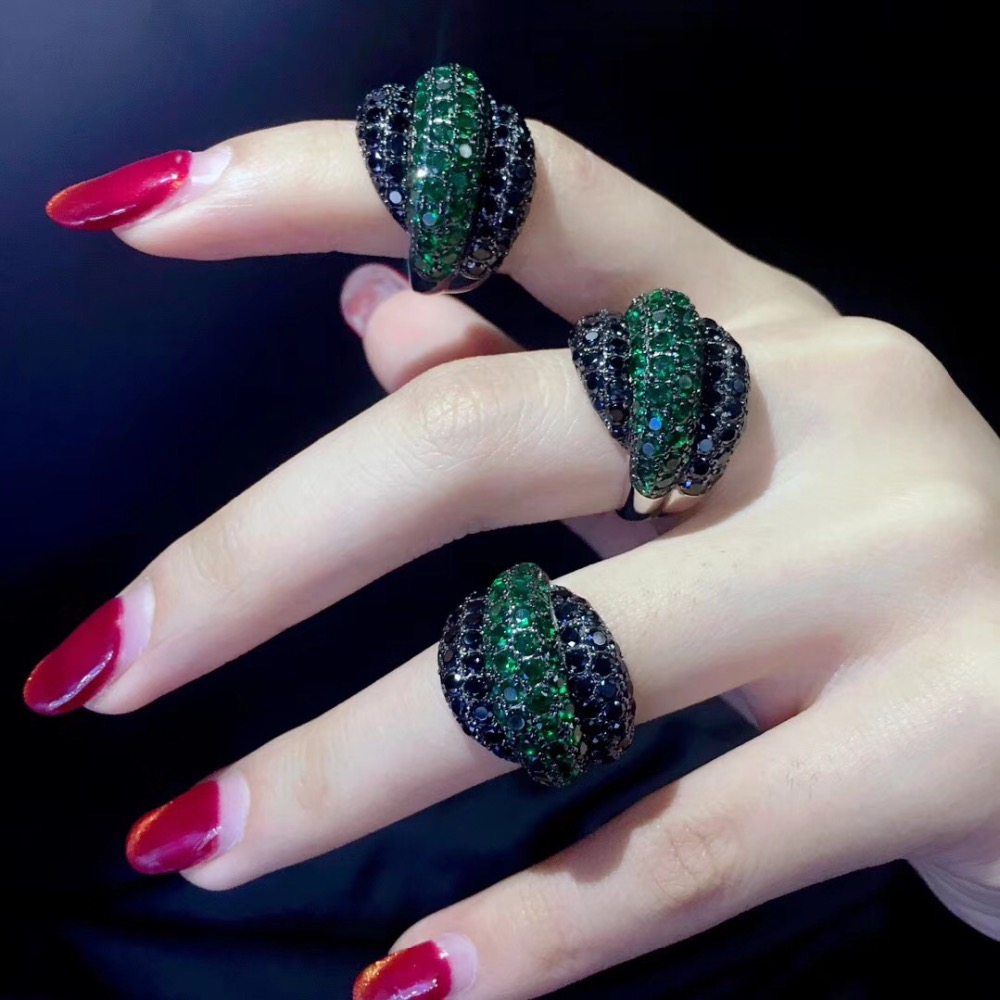 green and black color mixed 925 sterling silver with cubic zircon cocktail ring fashion women jewelry