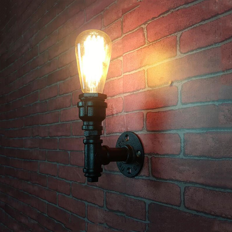 Iron water pipe wall lamp retro loft vintage lighting fixtures bedside gateway Porch corridor stair bedside cafe lamp sconce bra