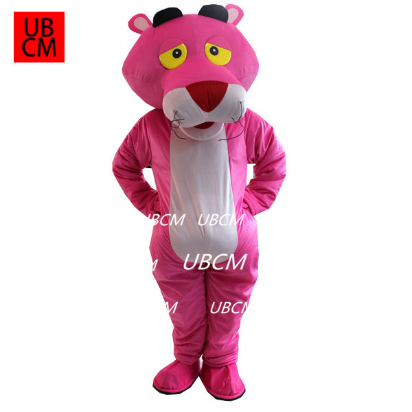 Hot Pink Panther Mascot Costume Cartoon Fancy Xmas Dress Outfit Adult Cosplay