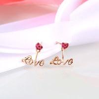 Ruby Earrings Drop For Women 2016 Brand New 14K Rose Gold Heart Love Design Stud Earrings
