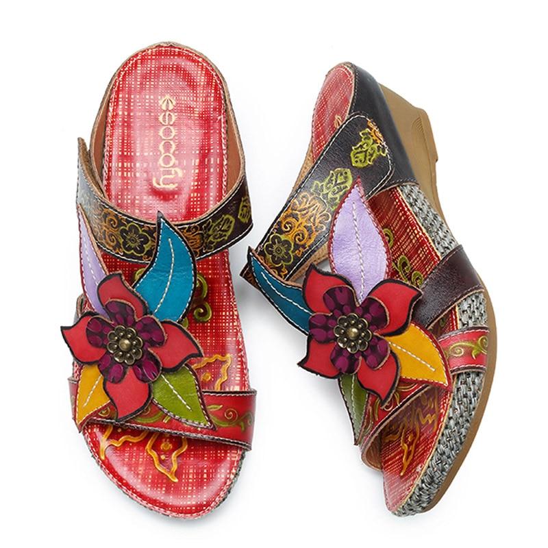 verde De Mano Cuña Deslice Flor Sandalias Genuino Mujer Beige rojo Verano Retro Bohemio A Cuero Zapatillas Tacones Zapatos Hecho Socofy Uqw5A1A