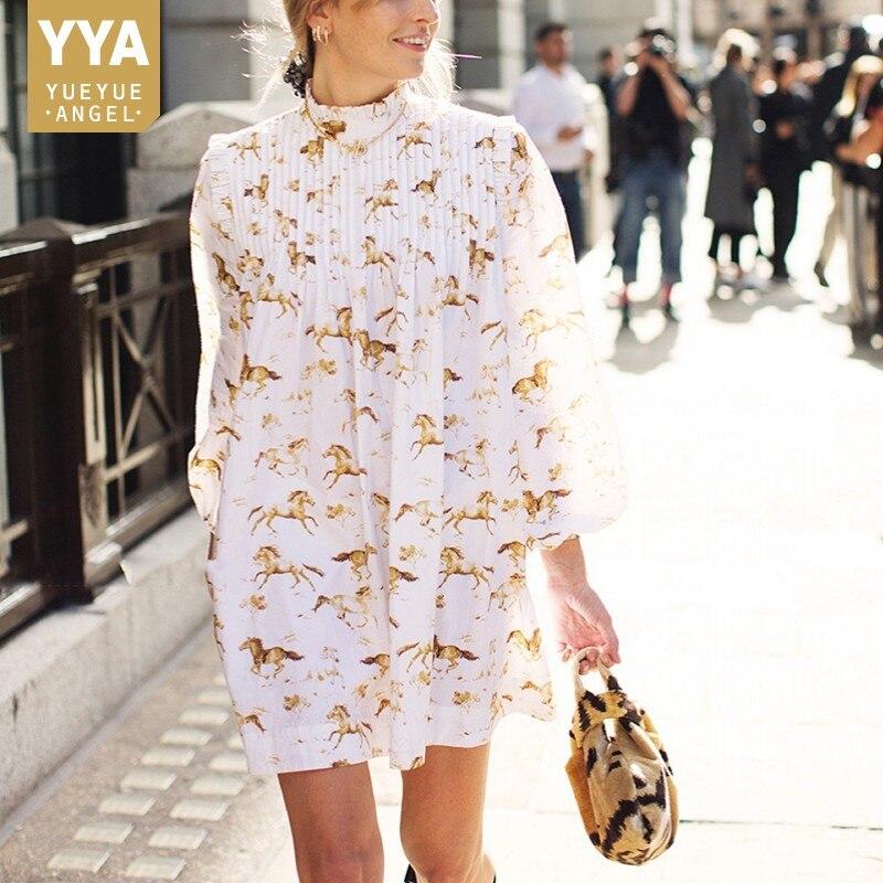 New Fashion Summer Women Horse Printed Pleated Dress Ruffles Stand Collar Lantern Sleeve Mini Dress Ladies Casual Beach Dresses