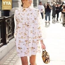 New Fashion Summer Women Horse Printed Pleated Dress Ruffles Stand Collar Lanter