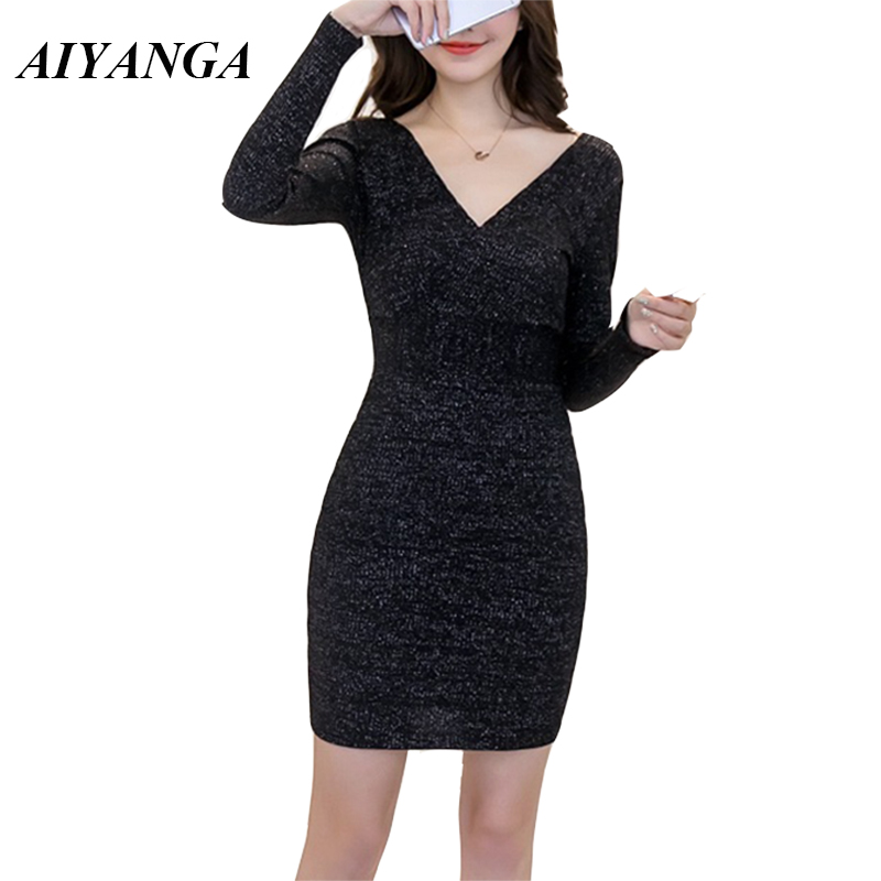 Detail Feedback Questions about AIYANGA Elasticity knitted Sexy Dress Women  V Neck Long Sleeve Dress 2018 Autumn Winter Under Dresses Short Style  package ... 355de63e5e02