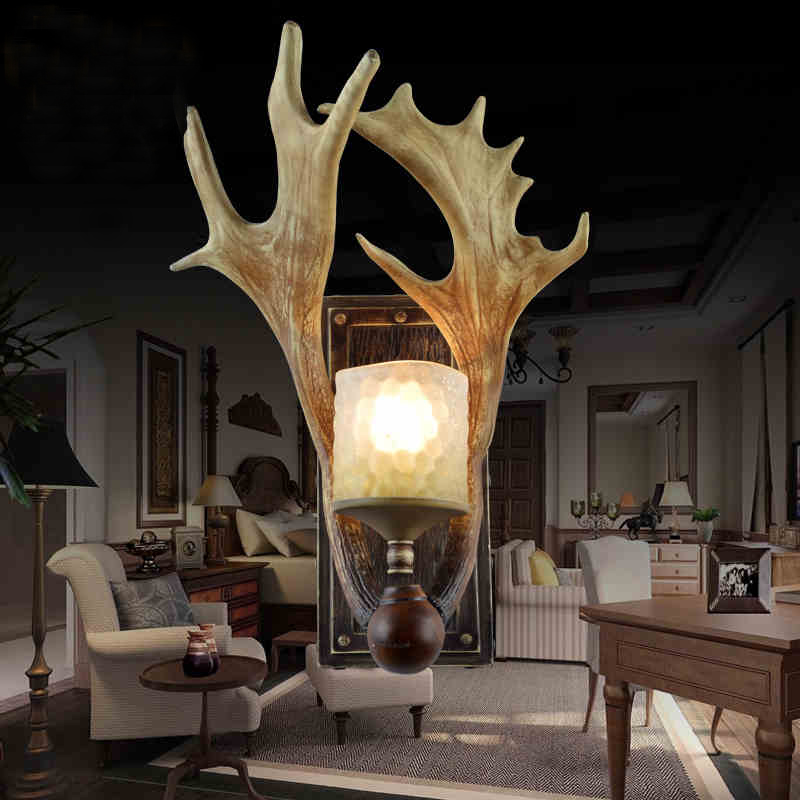 2016 creative antlers villa living room bedroom background wall lamp Cafe special offer European  Chinese restaurant lighting private villa living room chair retail