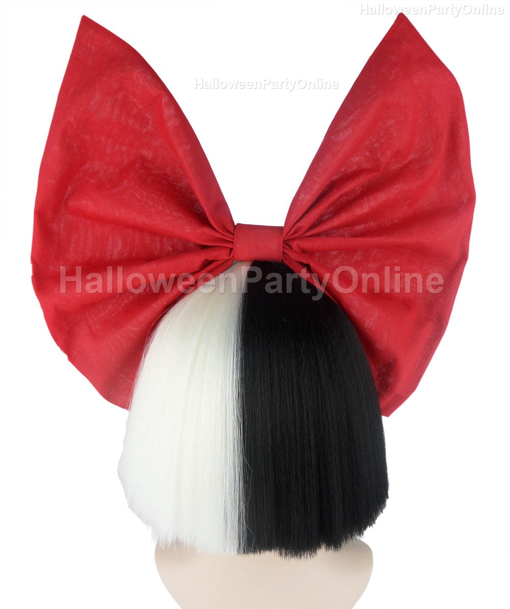 Halloween Party Online SIA Black & White Shy Wig Red Bow Costume ...
