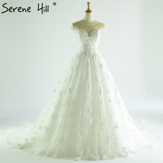 2018 New Lace Ball Gown Wedding Dress White Sequined Pearls Bride ...