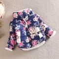 Wool Kids Winter Coat Girls Cotton Jacket  Flower Design Windproof Outwear 2-5 Years Casaco Infantil Menina TZ03