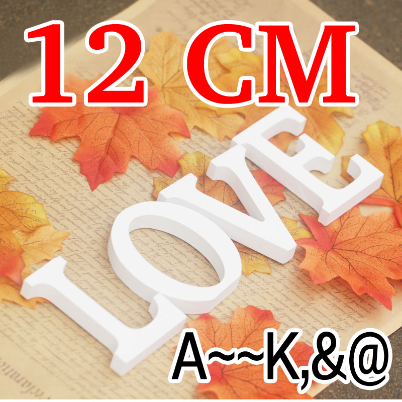 12cm Artificial Wood Letter Wood carving White Letters wedding decoration Home Decoration wedding decoration Gift