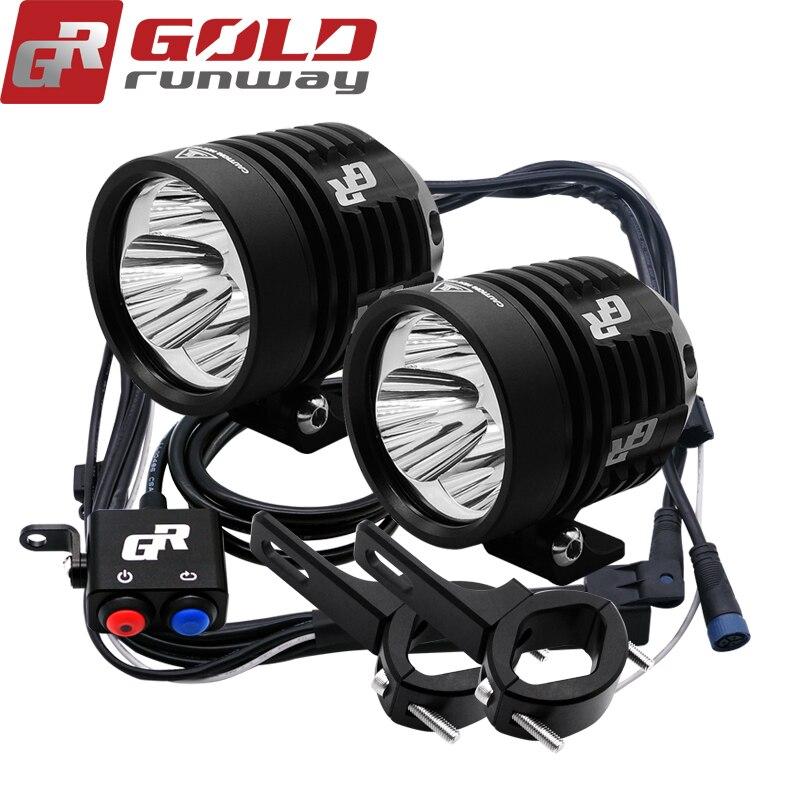 1 paire GOLDRUNWAY 30IX Moto Phares 30 w 12 v U3 Moto led Conduite Projecteurs 3 mode Moto projecteur spot phares