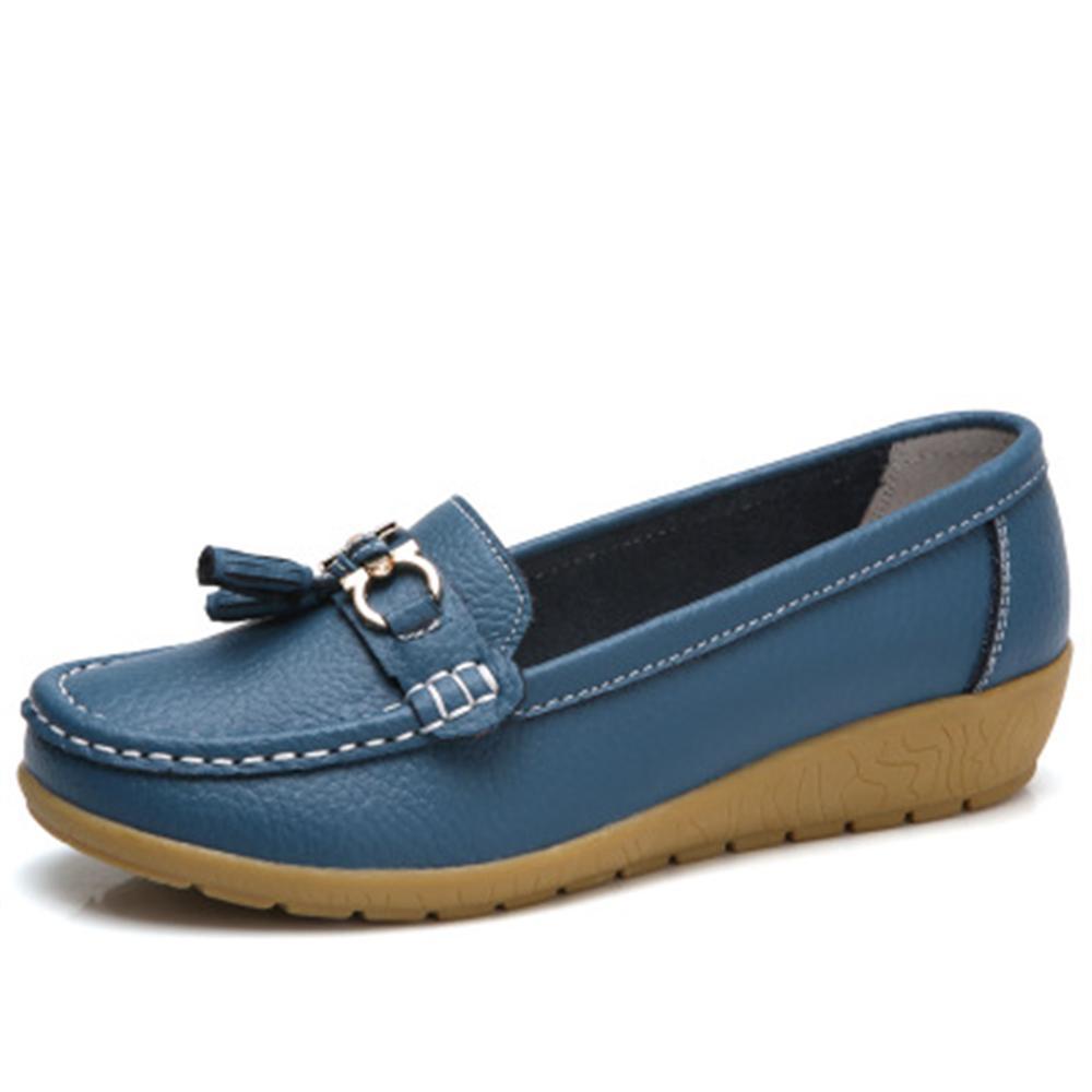 Zapatos de primavera mujer zapatos de cuero genuino moda casual mocasines fringe slip-on redonda dedo del pie sólido zapa женские кеды n 2015 mujer zapatos sb b004 b002