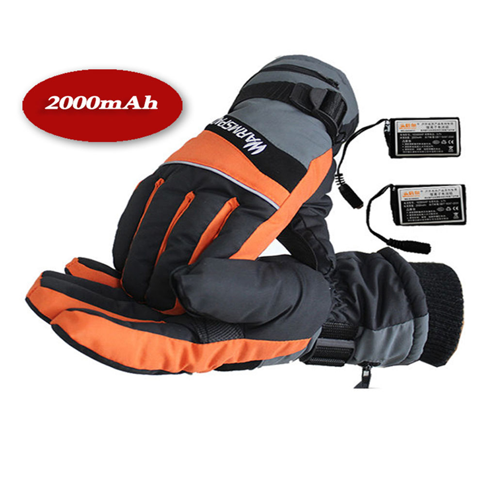Motorcycle gloves heated battery - Waterproof Heated Gloves Motorcycle Men Women Electric Heated Mittens Rechargeable Battery Heating Warm Gloves 2000mah