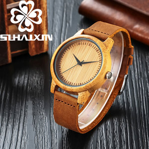 SIHAIXIN Natural Bamboo Man Clock Casual zegarek meski Soft Leather Wood Men Watch reloj de madera Creative Birthday Gifts Male