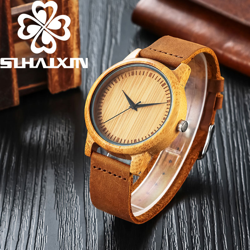 SIHAIXIN 2017 ძვირადღირებული Bamboo Mens - მამაკაცის საათები