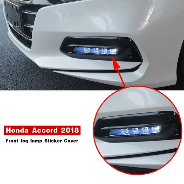 2pcs Blue Front Fog Light Lamp Cover Sticker Fit For Honda Accord 2018 2019 Exterior Accessories Car Stickers