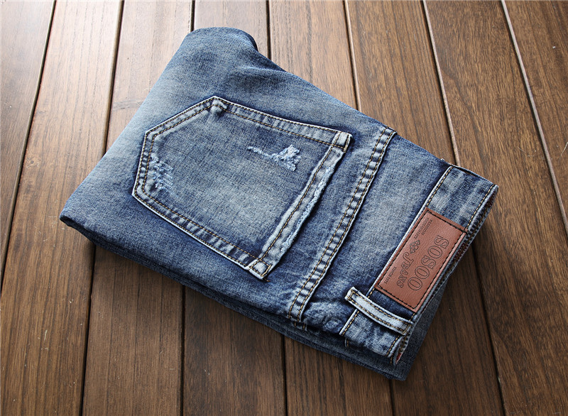 New arrival mens ragged jeans biker patches blue denim pants men slim straight embroidered with flowers hole streetwear cool