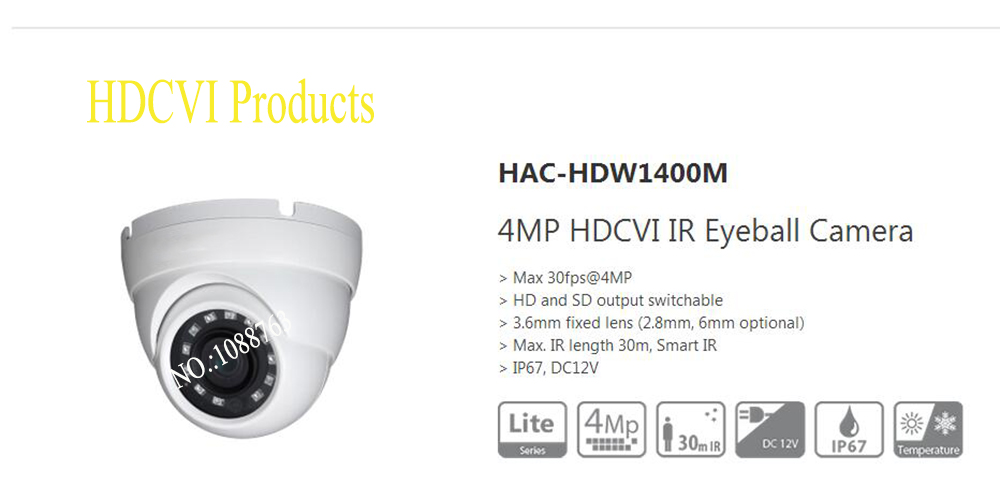 Free Shipping DAHUA CCTV Security Camera 4MP HDCVI IR Eyeball Camera without Logo HAC-HDW1400M free shipping dahua cctv security camera 4mp hdcvi ir eyeball camera without logo hac hdw1400m