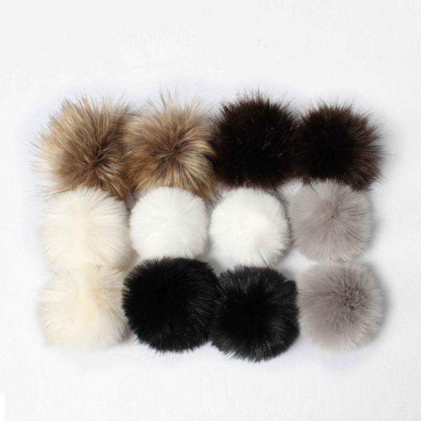 snowshine YLWX DIY Faux Fox Fur Fluffy Pompom Ball for Knitting Hat Hats