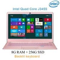 """מחברת מחשב P9-2 רוז זהב 8G RAM 256G SSD Intel Celeron J3455 26"""" מחשב שולחני מחברת משחקים ניידת עם מקלדת מוארת (1)"""