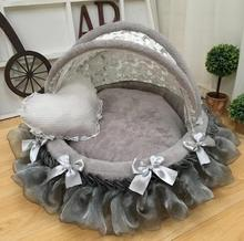 Luxury pet round nest Canopy foldable Awning cradle bed High-end fashion dog Exquisite house Lace