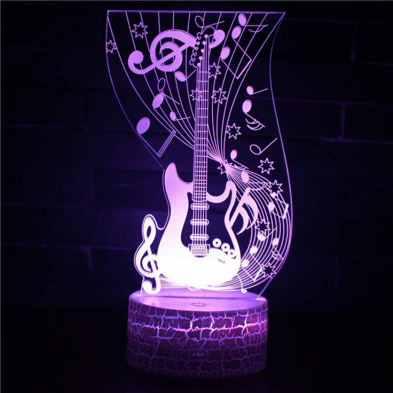 Guitar Saxphone Piano 7 Color 3d Led Night Lamps Touch Led Usb Table Nightlight Kingchip