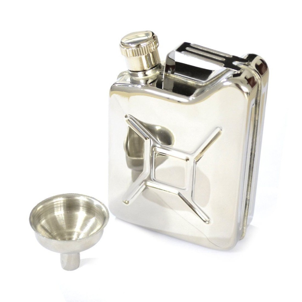 A Set Pocket 6oz 304 Stainless Steel Gas Can Shaped Alcohol Screw Hip Flask with Funnel