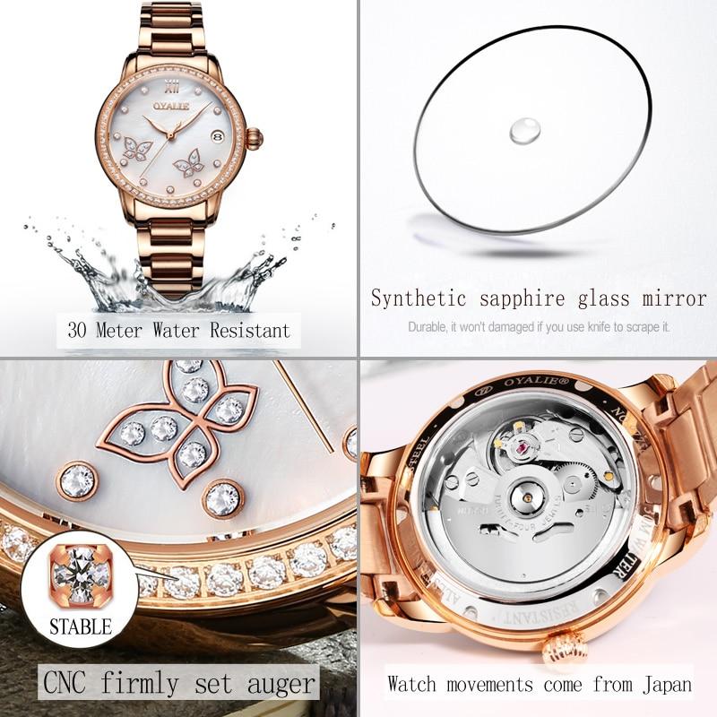 8058f4a0b13d Aliexpress.com   Buy OYALIE Butterfly Female Clock Women Watches Rose Gold  Steel Strap Automatic Mechanical Wristwatch Ladies Watch reloj mujer 9775  from ...