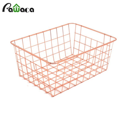 Nordic Style Rose Gold Metal Wire Storage Basket Cosmetic Organizer Holder Home Office Desk Toiletry Collection Bathroom Shelf