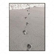 Scandinavian Nordic Beach Footprints Abstract Wall