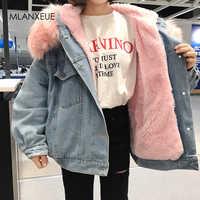 Casacos de pele com capuz denim forro de algodão inverno mais grosso denim casacos senhoras jaqueta casual feminino plus size solto outerwear topo