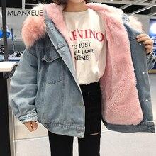 Hooded Fur Denim Jackets Women Liner Cotton Winter Thicker Denim Coats Ladies Ca