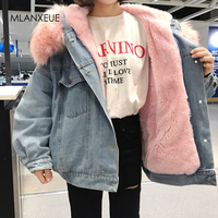 Hooded Fur Denim Jackets Women Liner Cotton Winter Thicker Denim Coats Ladies Casual Jacket Female Plus Size Loose Outerwear Top
