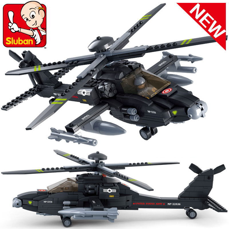 Sluban B0511 Air plane Black AH-64 Utility Helicopter 3D Construction Plastic Model Building Blocks Bricks Compatible With Lego new phoenix 11207 b777 300er pk gii 1 400 skyteam aviation indonesia commercial jetliners plane model hobby
